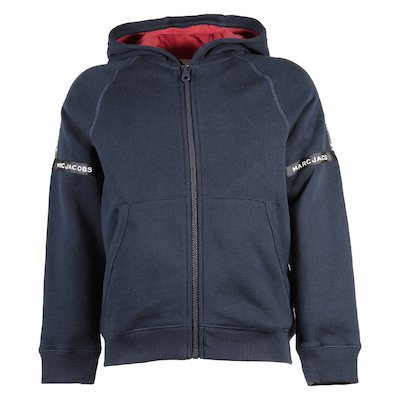 marled grey cotton blend zip-up hoodie