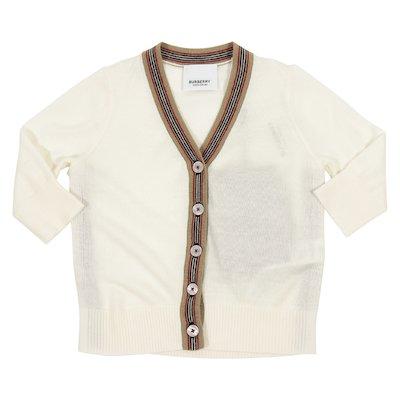 Cardigan beige in pura lana merinos