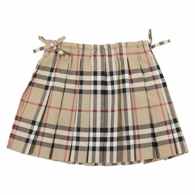 Vintage check cotton poplin pleated skirt