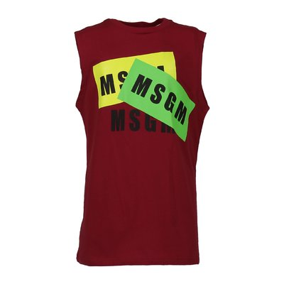 MSGM red multi logo cotton jersey tank top