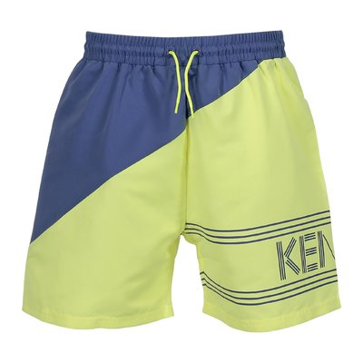 Yellow and blue nylon swim shorts