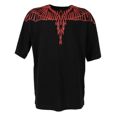 T-shirt nera Wings in jersey di cotone