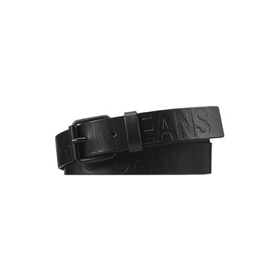 Calvin Klein logo black cow split belt