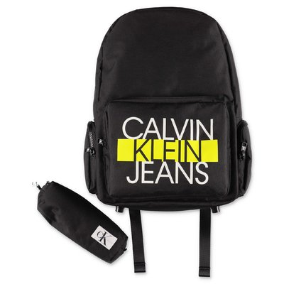Calvin Klein black logo detail nylon backpack