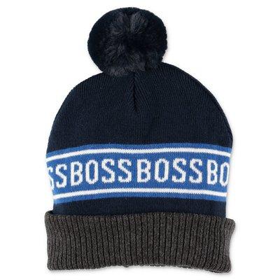Hugo Boss blue logo detail cotton knit cap