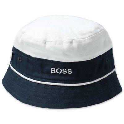 White & blue cotton canvas HUGO BOSS boy bucket hat