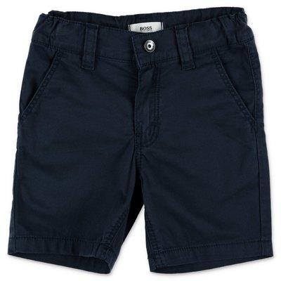 HUGO BOSS shorts blu navy in gabardina di cotone