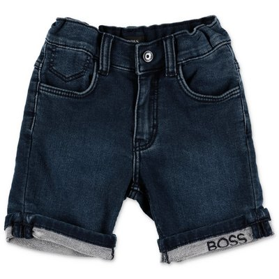 HUGO BOSS blue stretch cotton denim shorts