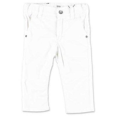 HUGO BOSS white cotton gabardine pants