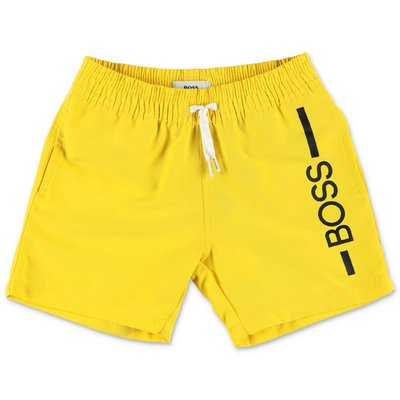 HUGO BOSS yellow nylon swim shorts