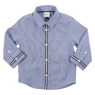 Blue checked logo cotton poplin shirt