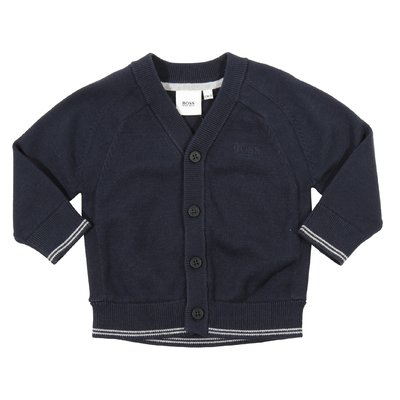Navy blue cotton knit cardigan with embroidered logo