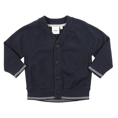 Cardigan blu navy in maglia di cotone con logo ricamato