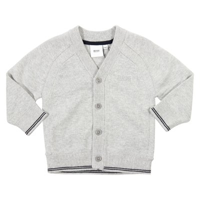 Grey cotton knit cardigan with embroidered logo