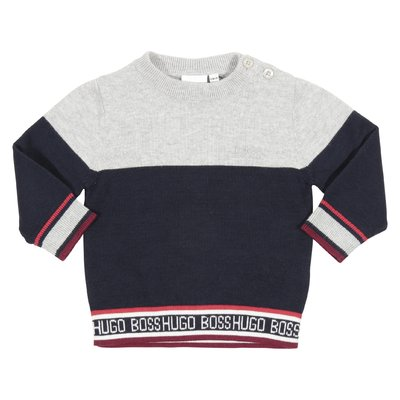 Deep blue cotton jumper with contrasting color detail
