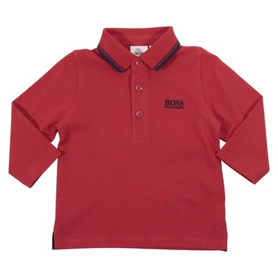 Polo rossa in piquet di cotone con logo ricamato