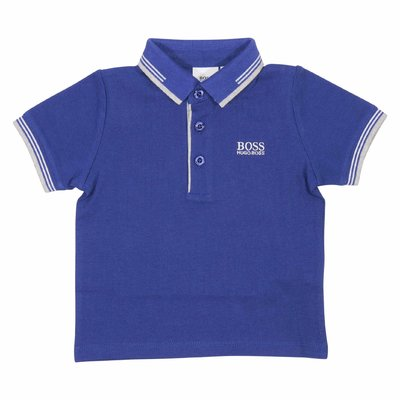 Blue cotton piquet polo shirt