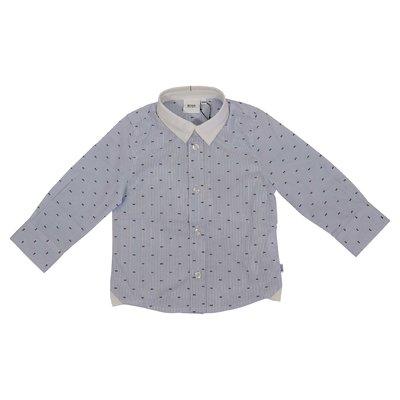 Camicia celeste a righe in popeline di cotone