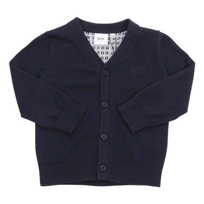 Navy blue logo detail cotton knit cardigan