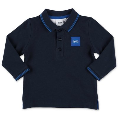 Hugo Boss navy blue cotton piquet polo