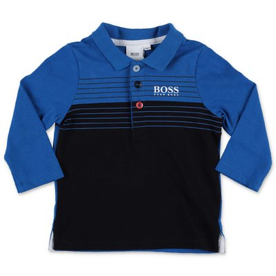 Hugo Boss polo blu e nera in piquet di cotone