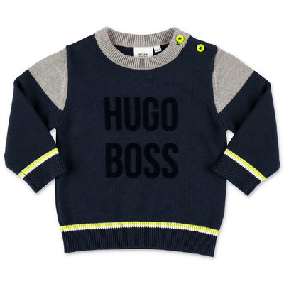 Hugo Boss navy blue cotton knit jumper