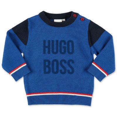 Hugo Boss blue cotton knit jumper