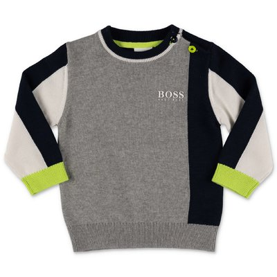 Hugo Boss color blocking logo detail cotton knit jumper