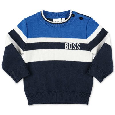 Hugo Boss navy blue cotton & wool knit jumper