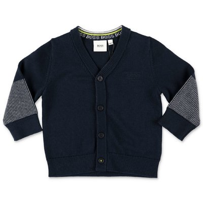 Hugo Boss navy blue cotton knit cardigan