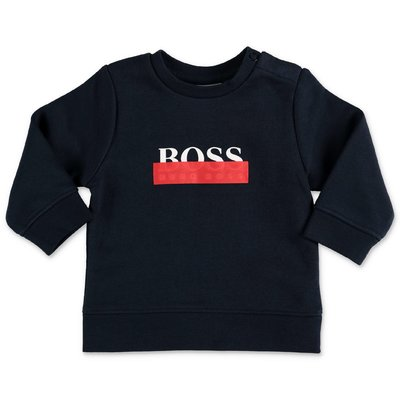 Hugo Boss logo navy blue cotton sweatshirt