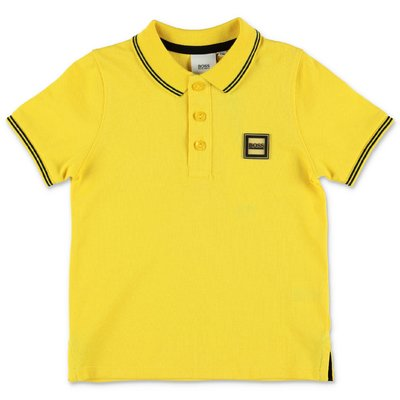 HUGO BOSS yellow cotton piquet polo shirt