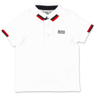 HUGO BOSS white cotton piquet polo