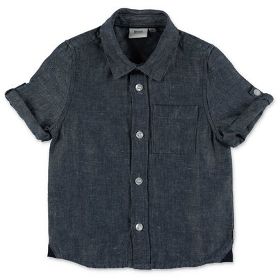 HUGO BOSS blue linen and cotton shirt