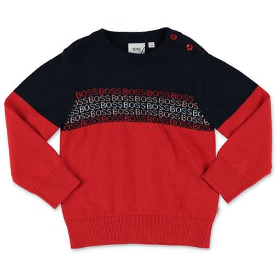 HUGO BOSS blue & red knit cotton jumper