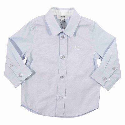 Camicia azzurra in popeline di cotone con logo ricamato