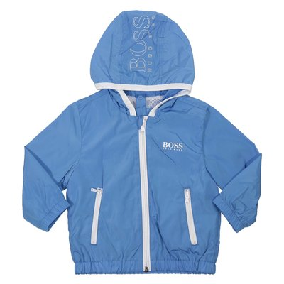 Blue nylon windbreaker with hood