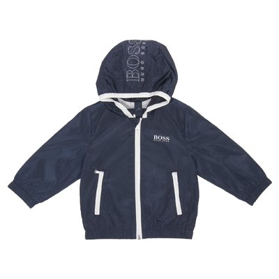 Blue logo detail nylon jacket with hood