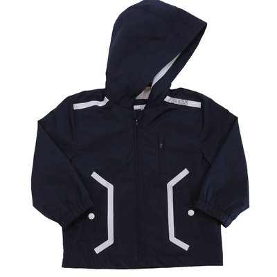 HUGO BOSS giacca blu navy in nylon con zip e cappuccio