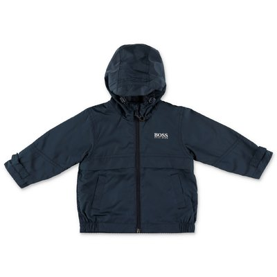 Hugo Boss logo navy blue nylon jacket