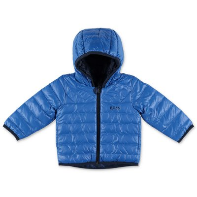 Hugo Boss nylon reversible down jacket with hood