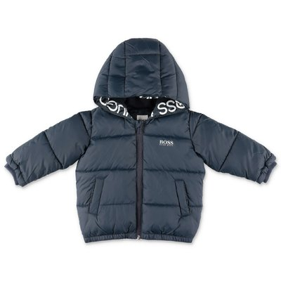 Hugo Boss navy blue nylon down jacket with hood