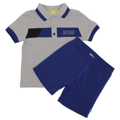 Grey cotton piquet polo shirt blue cotton sweat shorts set