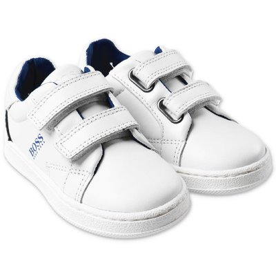 Hugo Boss white leather sneakers with velcro