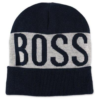 Hugo Boss logo detail navy blue knit beanie