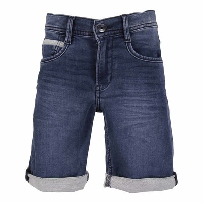 Blue stretch cotton denim vintage effect shorts