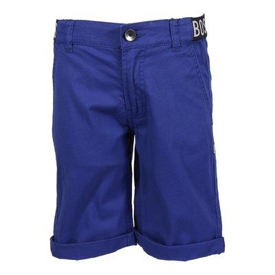 Royal blue logo detail cotton gabardine shorts