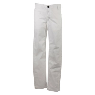 White stretch cotton pants