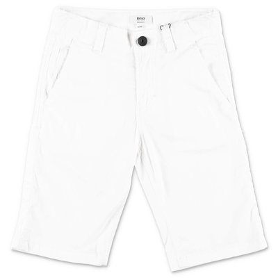 HUGO BOSS white cotton gabardine shorts