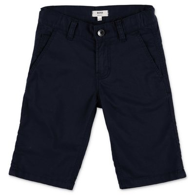 HUGO BOSS navy blue cotton gabardine shorts